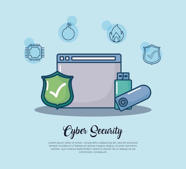 Sicurezza informatica con interfaccia web e icona usb su sfondo blu Vettore Premium