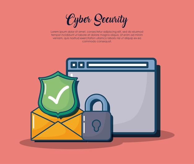 Sicurezza informatica con interfaccia web e relative icone su sfondo rosso Vettore Premium