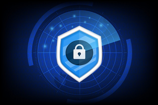 Sicurezza informatica con l'icona della chiave sul buio Vettore Premium