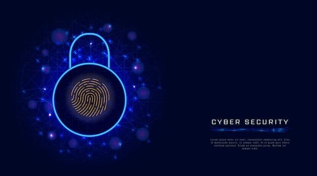 Sicurezza informatica protezione dei dati, lucchetto. accesso sicuro tramite identificazione dello scanner di impronte digitali Vettore Premium