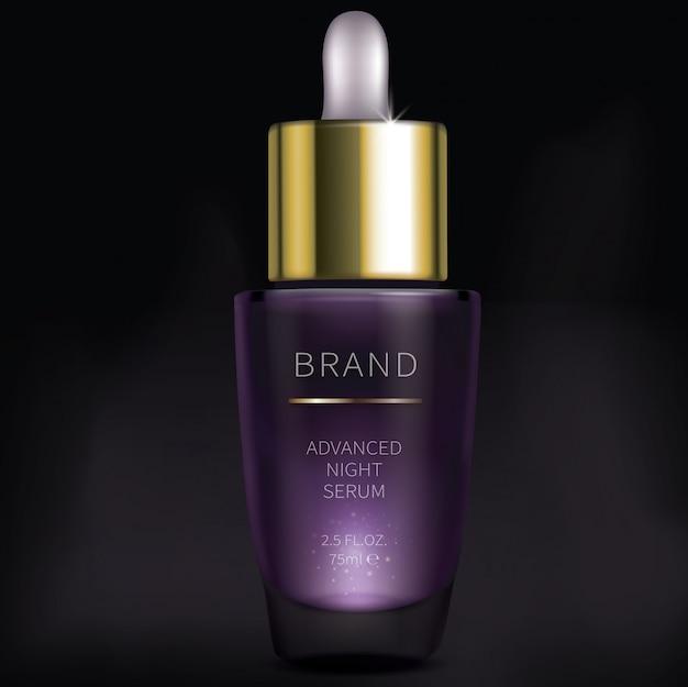 Siero cosmetico di notte per la cura della pelle del viso Vettore gratuito