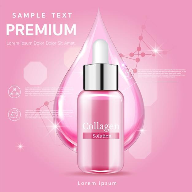 Siero rosa trattamento viso essenza cura della pelle cosmetico. Vettore Premium