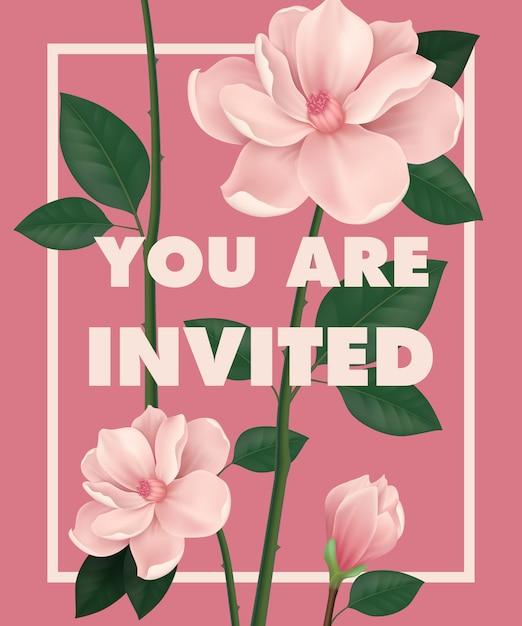 Siete invitati a scrivere con fiori di ciliegio su sfondo rosa. Vettore gratuito