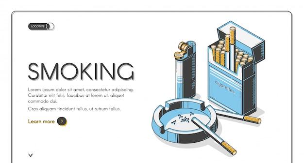 Sigarette in confezione con posacenere e accendino Vettore gratuito