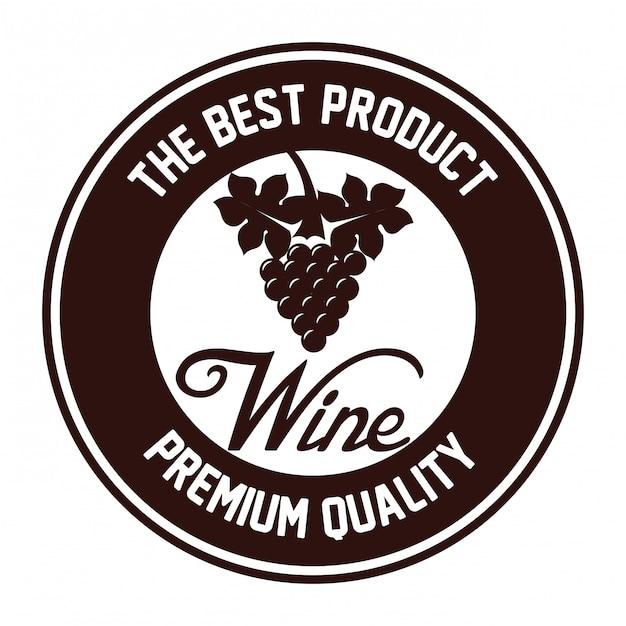 Sigillo di disegno dell'icona isolato vino di qualità Vettore Premium