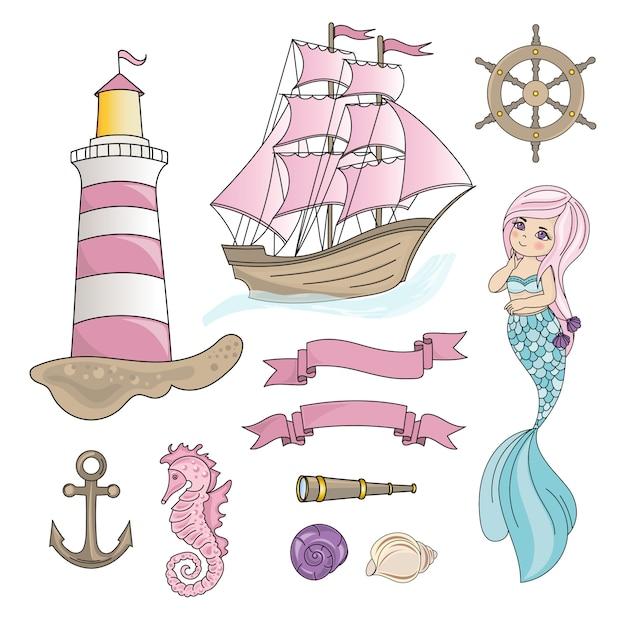 Sigillo sailboat sea travel color Vettore Premium
