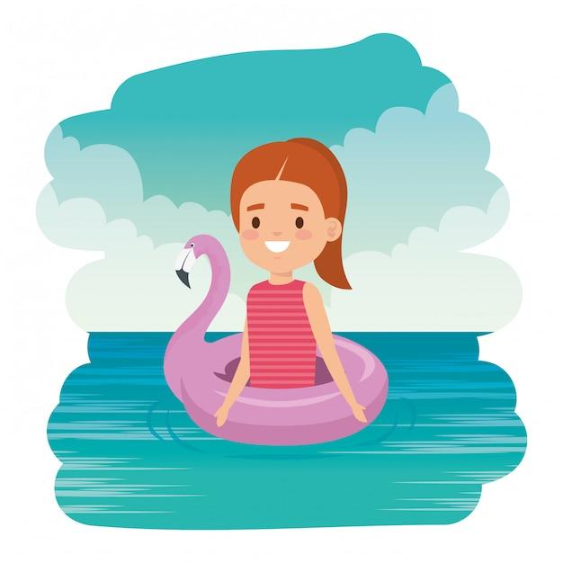 Signora sveglia della bambina con galleggiante fiammingo nel mare Vettore Premium