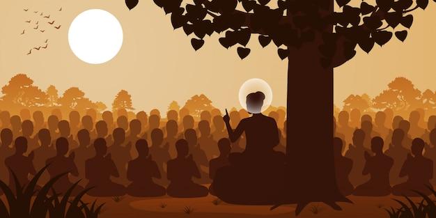 Signore del buddha sermone dharma alla folla di monaco Vettore Premium