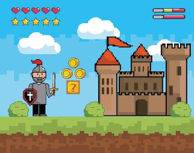 Signore ragazzo con scudo e spada con castello Vettore Premium