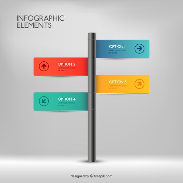 Signpost infografica Vettore gratuito