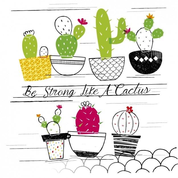 Sii forte come un cactus Vettore gratuito