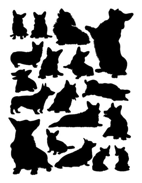 Silhouette animale cane corgi Vettore Premium