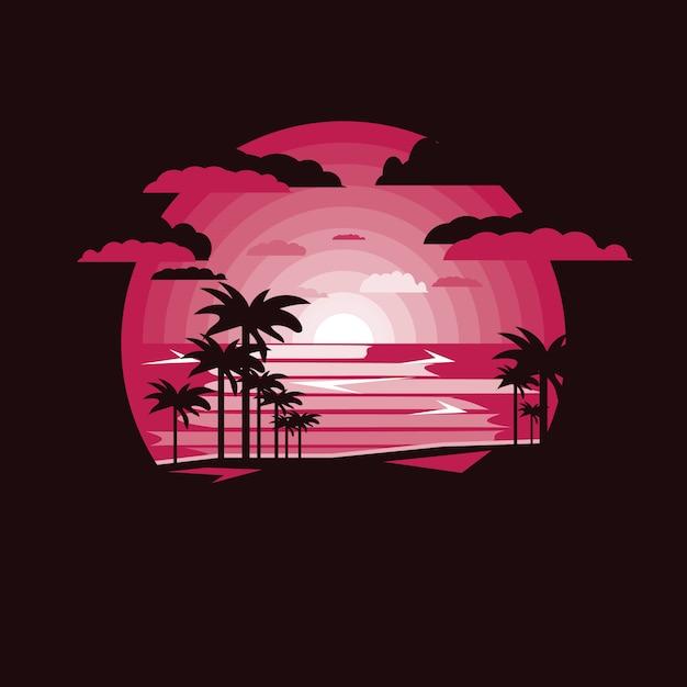 Silhouette clum palm sul paesaggio di mare. Vettore Premium