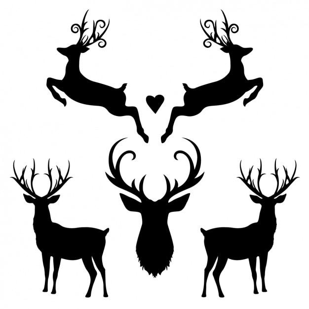 Silhouette collection deer Vettore gratuito