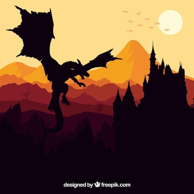 Silhouette del castello e drago volante Vettore gratuito