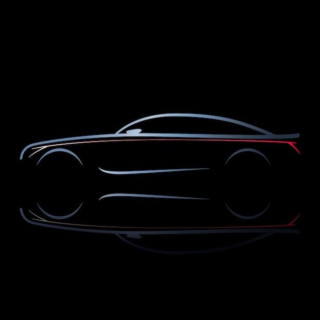 Silhouette di auto con luci accese. Vettore Premium