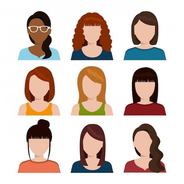 Silhouette di avatar di giovani Vettore gratuito