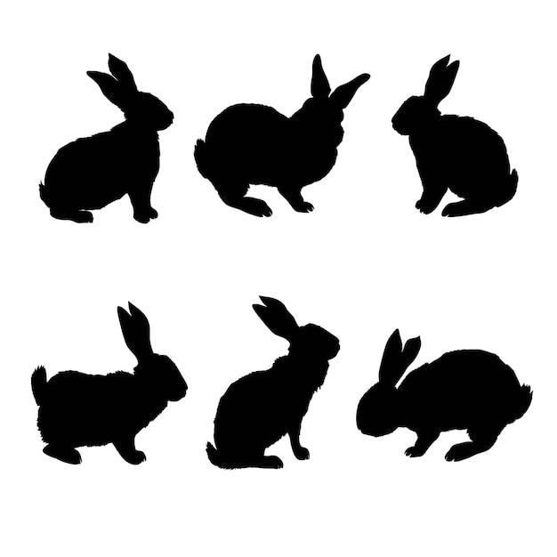 Silhouette di coniglio - illustrazione vettoriale Vettore Premium