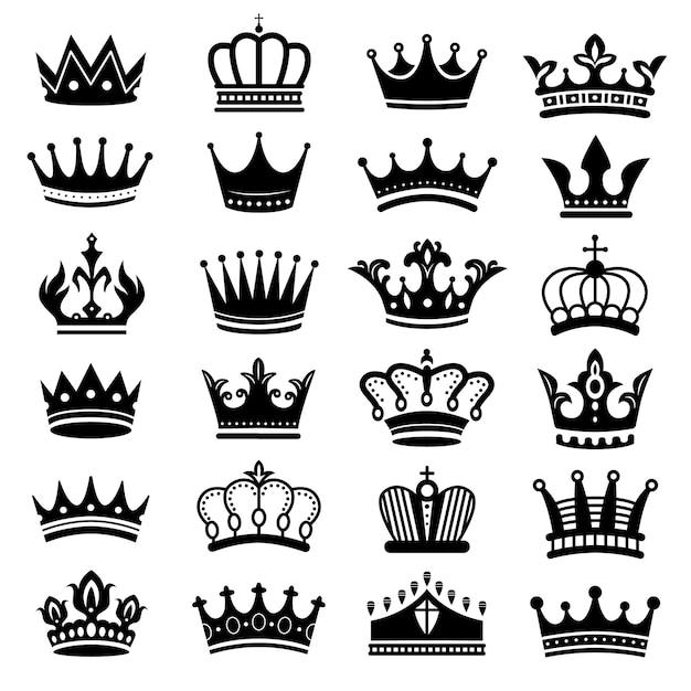 Silhouette di corona reale. set di corone reali, corone maestose e lussuose sagome di tiara Vettore Premium