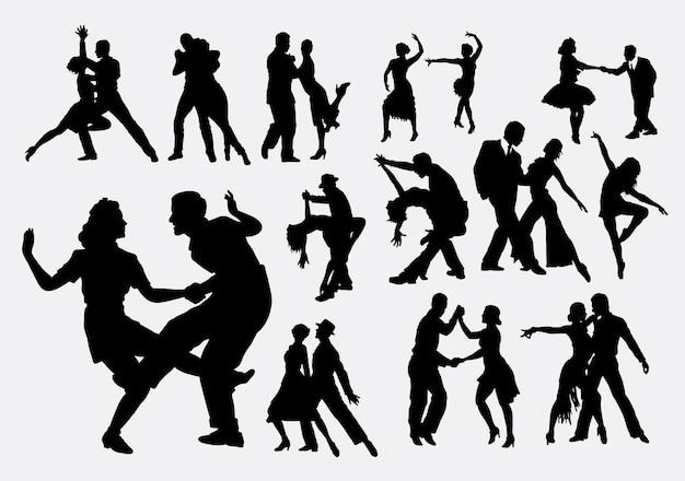 Silhouette di danza di tango e salsa Vettore Premium