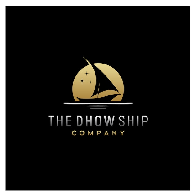 Silhouette di dhow tradizionale logo della barca a vela Vettore Premium