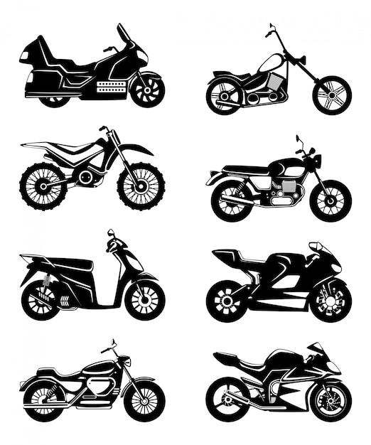 Silhouette di motocicli. set di illustrazioni monocromatiche vettoriali Vettore Premium