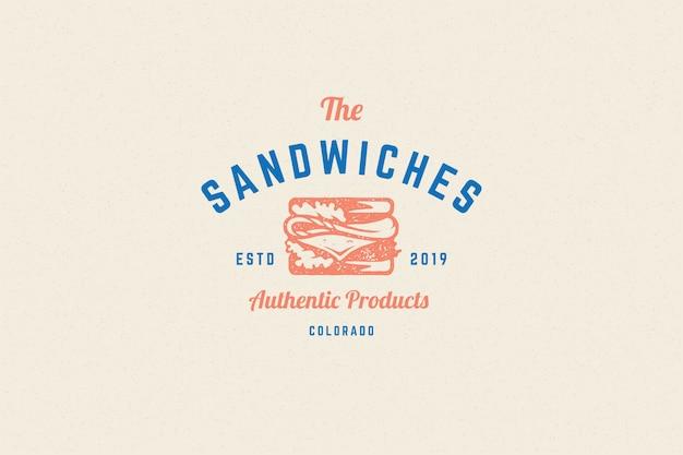Silhouette di sandwich logo incisione e stile disegnato a mano tipografia moderna vintage. Vettore Premium