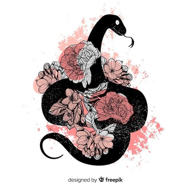 Silhouette di serpente disegnato a mano con sfondo di fiori Vettore gratuito