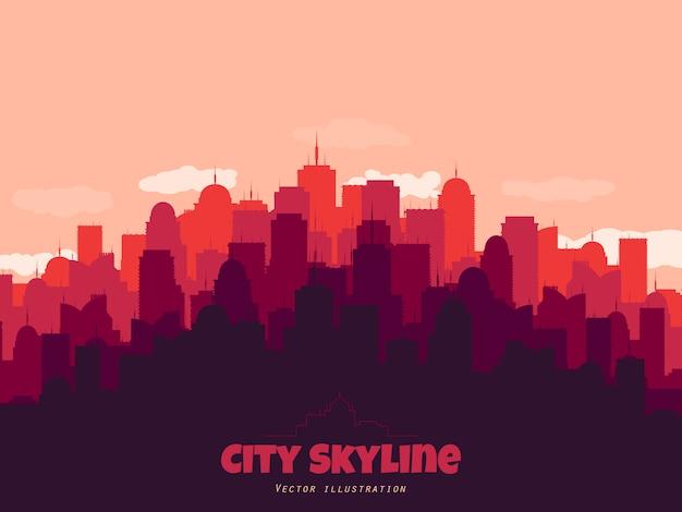Silhouette di skyline della città. sfondo del paesaggio. Vettore Premium