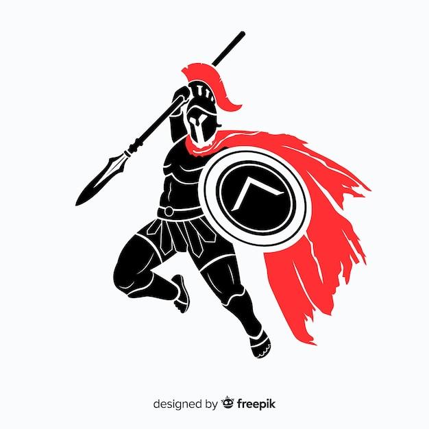Silhouette di un guerriero spartano Vettore gratuito