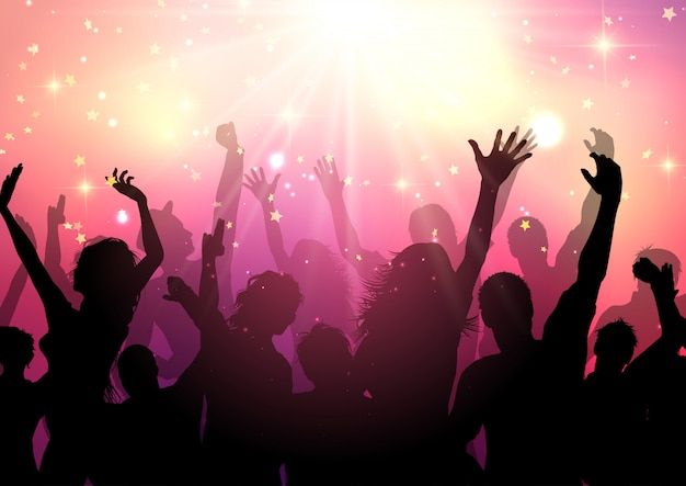 Silhouette di un pubblico di partito Vettore gratuito