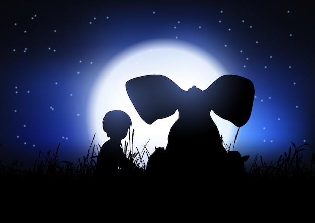 Silhouette di un ragazzo e un elefante che si staglia contro il cielo notturno Vettore gratuito