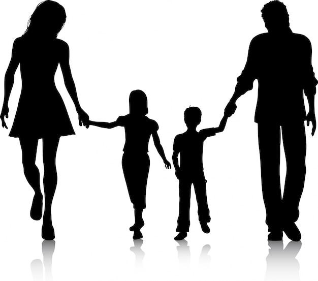 Silhouette di una famiglia che cammina mano nella mano Vettore gratuito