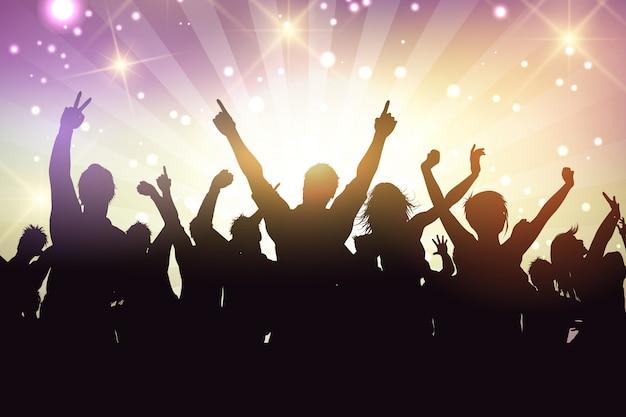 Silhouette di una folla di festa Vettore gratuito