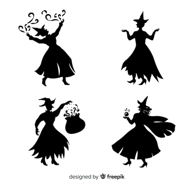 Silhouette di una strega di halloween Vettore gratuito