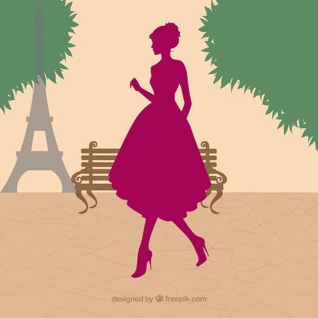 Silhouette donna a parigi Vettore gratuito
