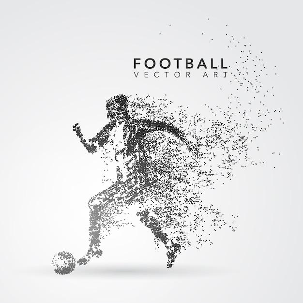 Silhouette giocatore di calcio Vettore Premium