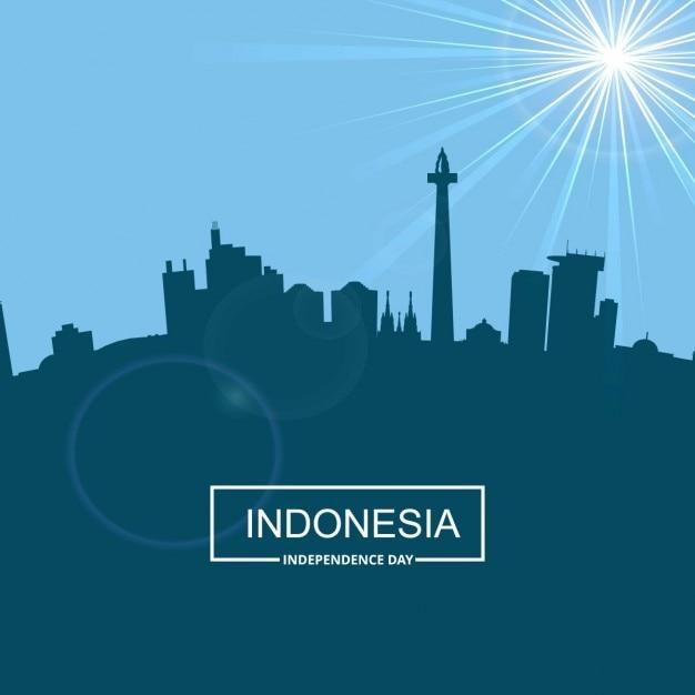 Silhouette indonesia con la tipografia Vettore gratuito