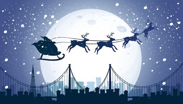 Silhouette santa e renna volanti cielo notturno Vettore gratuito