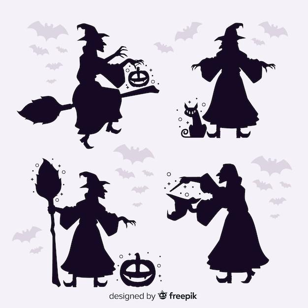 Silhouette strega di halloween Vettore gratuito