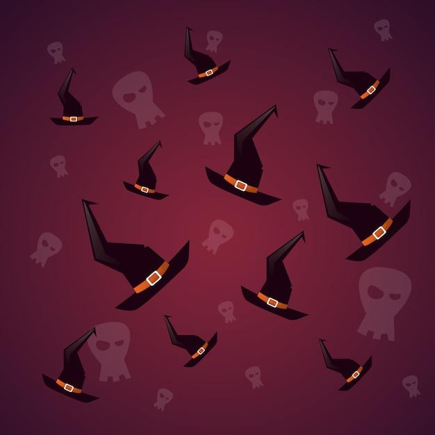 Silhouette witch cappelli e cranio felice halloween. decorazione horror party Vettore Premium