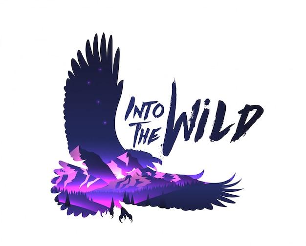 Siluetta del falco dell'aquila di doppio effetto di esposizione con il paesaggio delle montagne di notte con nella didascalia selvaggia. . Vettore Premium