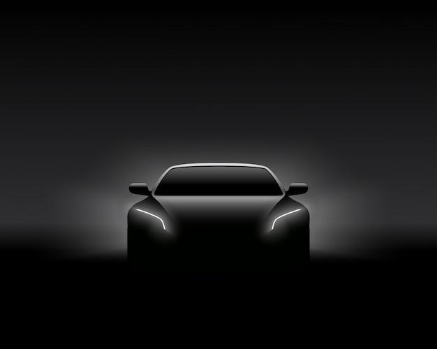 Siluetta dell'automobile di front view dark concept Vettore Premium