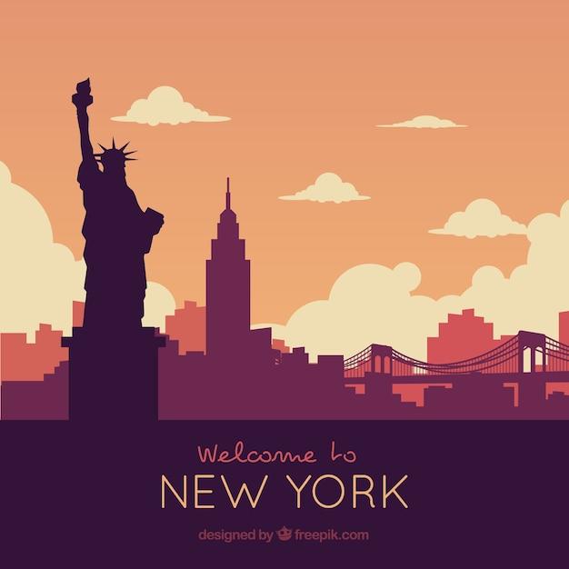 Siluetta dell'orizzonte di new york city Vettore gratuito