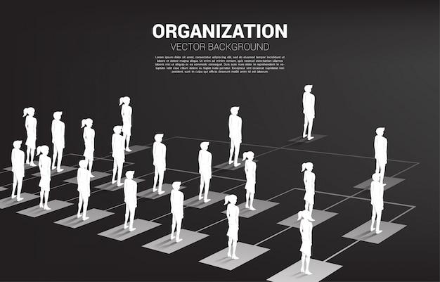 Siluetta dell'uomo d'affari e della donna di affari che stanno sull'organigramma. Vettore Premium