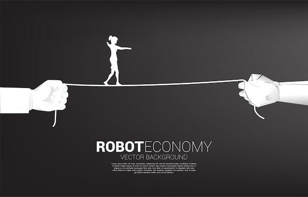 Siluetta della corda della camminata della donna di affari in robot e mano umana. concetto di sfida aziendale e percorso di carriera. Vettore Premium