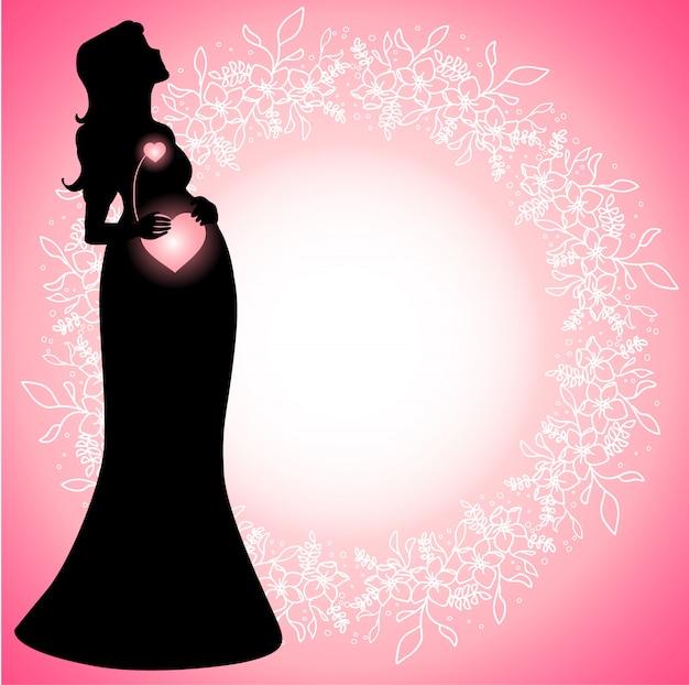 Siluetta della donna incinta con i cuori collegati d'ardore Vettore Premium