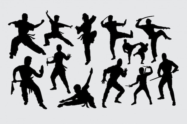 Siluetta di ninja di arte marziale di kungfu Vettore Premium