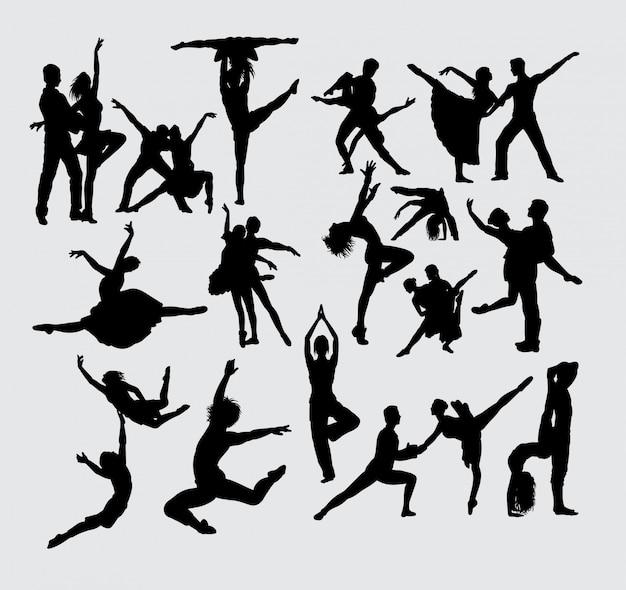 Siluetta di sport del balletto delle coppie di prestazione Vettore Premium