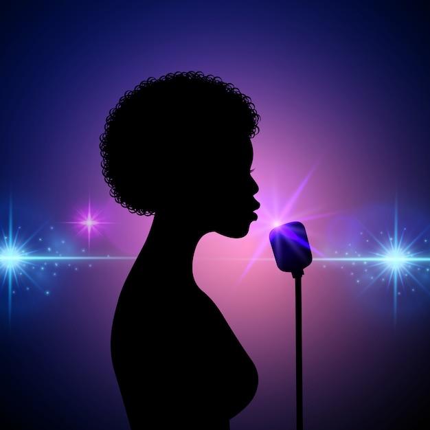 Siluetta di un cantante femminile su una priorità bassa astratta Vettore Premium